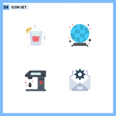 Editable Vector Line Pack of 4 Simple Flat Icons of drink, cooking, global, appliances, mail Editable Vector Design Elements icon