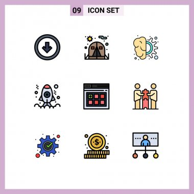 Stock Vector Icon Pack of 9 Line Signs and Symbols for web, development, brain, coding, thinking Editable Vector Design Elements icon