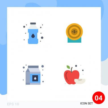 4 Creative Icons Modern Signs and Symbols of bottle, pack, target, target, food Editable Vector Design Elements icon