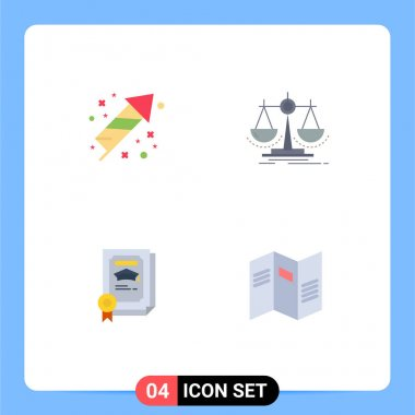 Flat Icon Pack of 4 Universal Symbols of celebration, degree, holiday, justice, certificate Editable Vector Design Elements icon