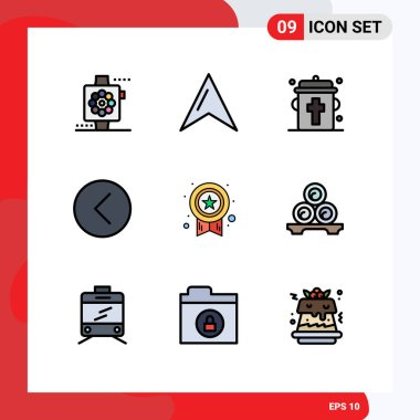 Stock Vector Icon Pack of 9 Line Signs and Symbols for medal, player, bottle, multimedia, media Editable Vector Design Elements icon