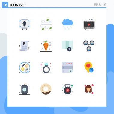Set of 16 Modern UI Icons Symbols Signs for document, movie, wind, film, thanksgiving Editable Pack of Creative Vector Design Elements icon