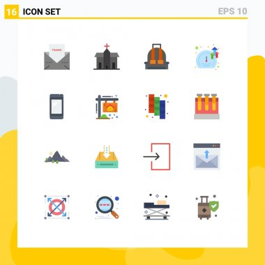 Set of 16 Modern UI Icons Symbols Signs for growth, software, historic, meter, camping Editable Pack of Creative Vector Design Elements icon