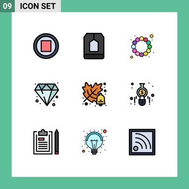 Stock Vector Icon Pack of 9 Line Signs and Symbols for accounting, education, beads, autumn, jewelry Editable Vector Design Elements icon