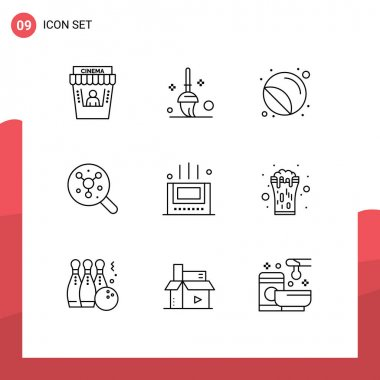 Stock Vector Icon Pack of 9 Line Signs and Symbols for mat, science, print, molecule, search Editable Vector Design Elements icon
