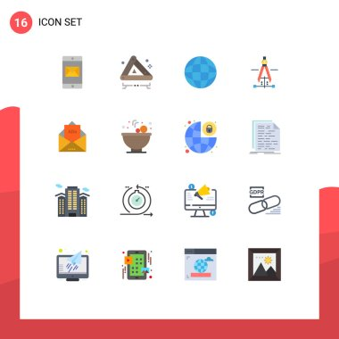 Universal Icon Symbols Group of 16 Modern Flat Colors of ad, education, biology, drawing, laboratory Editable Pack of Creative Vector Design Elements icon