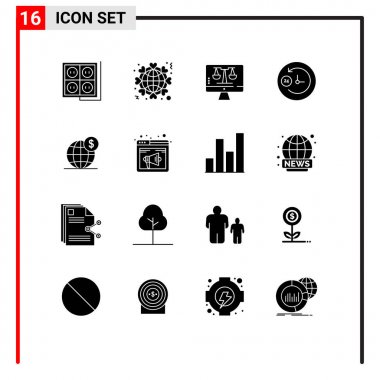 Stock Vector Icon Pack of 16 Line Signs and Symbols for dollar, day and night, love, clock, tecnology Editable Vector Design Elements icon
