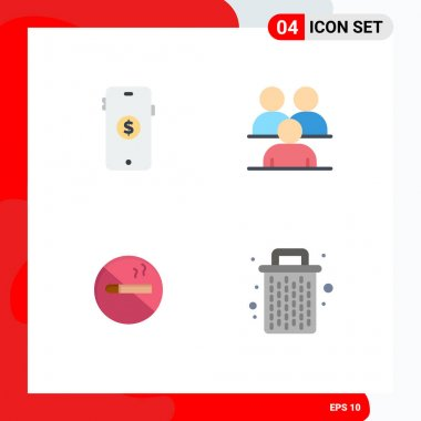 User Interface Pack of 4 Basic Flat Icons of ecommerce, smoking, online, corporate, cigarette Editable Vector Design Elements icon