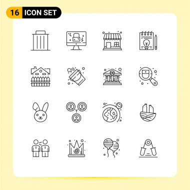 Stock Vector Icon Pack of 16 Line Signs and Symbols for apartment, bulb, lock, document, store Editable Vector Design Elements icon
