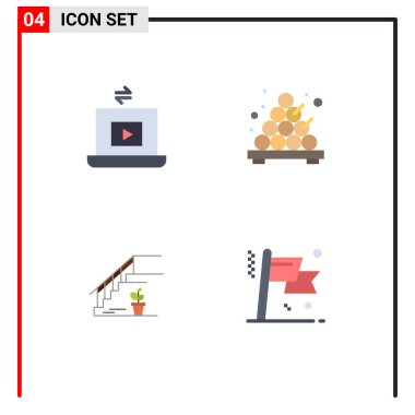 Pack of 4 creative Flat Icons of laptop, floor, play, takoyaki, home Editable Vector Design Elements icon