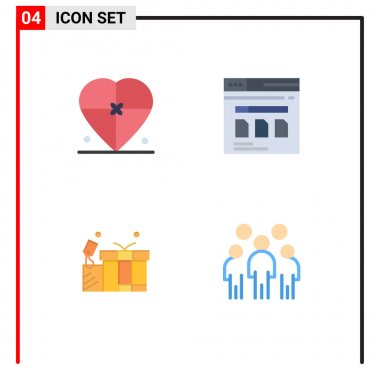 Set of 4 Commercial Flat Icons pack for box, file, love, secure, tag Editable Vector Design Elements icon