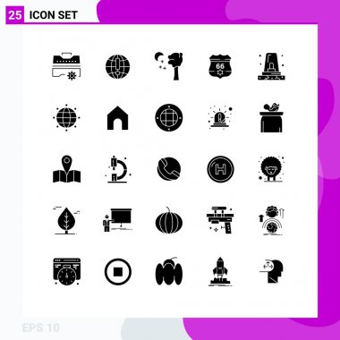 Stock Vector Icon Pack of 25 Line Signs and Symbols for police, alert, arbor, security, shield Editable Vector Design Elements icon