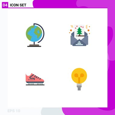 Pack of 4 creative Flat Icons of earth, ice, map, greeting, skates Editable Vector Design Elements icon