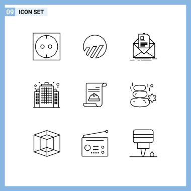 Stock Vector Icon Pack of 9 Line Signs and Symbols for invite, card, letter, invitation, estate Editable Vector Design Elements icon