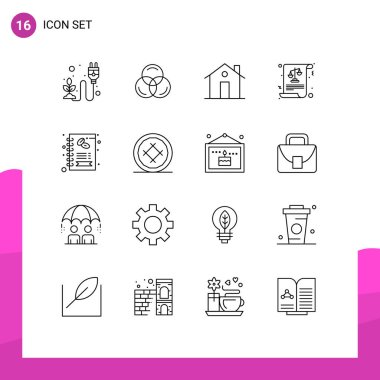 Stock Vector Icon Pack of 16 Line Signs and Symbols for business, justice, building, equality, house Editable Vector Design Elements icon