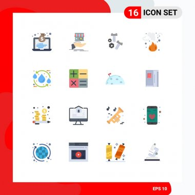 Stock Vector Icon Pack of 16 Line Signs and Symbols for smoke, garbage, hand, fire, tools Editable Pack of Creative Vector Design Elements icon