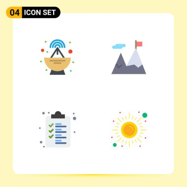 Pack of 4 creative Flat Icons of antenna, clipboard, accomplished, motivation, health Editable Vector Design Elements icon