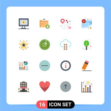 Stock Vector Icon Pack of 16 Line Signs and Symbols for favorite, message, location, clock, bubble Editable Pack of Creative Vector Design Elements icon