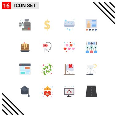 Stock Vector Icon Pack of 16 Line Signs and Symbols for wedding, teacher, cleaning, presentation, conference Editable Pack of Creative Vector Design Elements icon