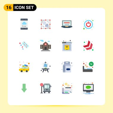 Set of 16 Modern UI Icons Symbols Signs for tablet, medicine, laptop, switch, power Editable Pack of Creative Vector Design Elements icon