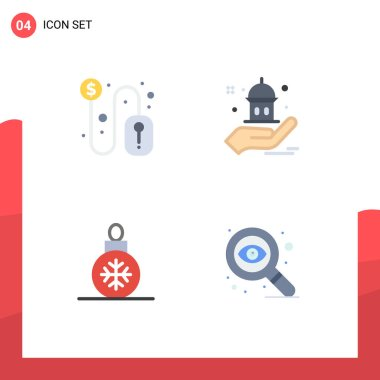 User Interface Pack of 4 Basic Flat Icons of click, christmas, mouse, help, decoration Editable Vector Design Elements icon