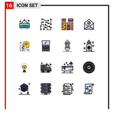 Group of 16 Modern Flat Color Filled Lines Set for email, delete, advertising, delete, premium Editable Creative Vector Design Elements