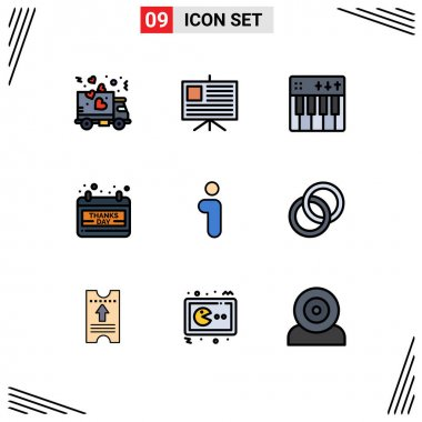 Universal Icon Symbols Group of 9 Modern Filledline Flat Colors of info, thanks day, event, day, calendar Editable Vector Design Elements