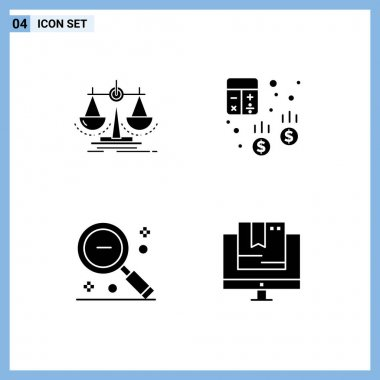 Stock Vector Icon Pack of 4 Line Signs and Symbols for balance, finance, law, audit, minus Editable Vector Design Elements icon