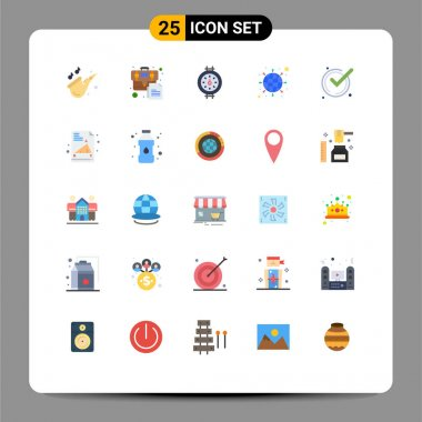 Stock Vector Icon Pack of 25 Line Signs and Symbols for ok, accept, gauge, network, internet Editable Vector Design Elements icon