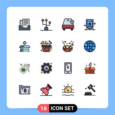 Stock Vector Icon Pack of 16 Line Signs and Symbols for open product, seo, car, optimization, vehicles Editable Creative Vector Design Elements icon