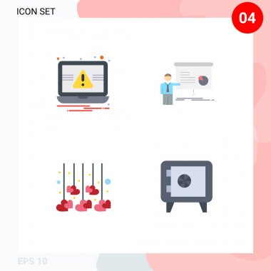 Pack of 4 creative Flat Icons of essentials, decoration, alert, presentation, love Editable Vector Design Elements icon