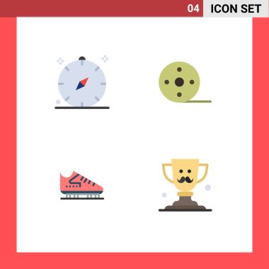 Pack of 4 Modern Flat Icons Signs and Symbols for Web Print Media such as compass, boot, navigation, film, skate Editable Vector Design Elements icon