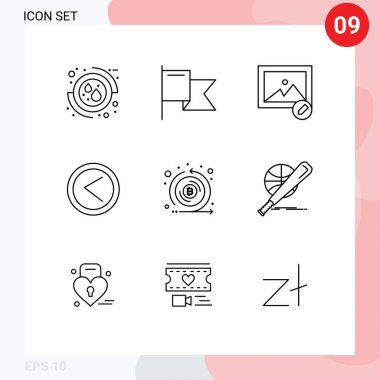Stock Vector Icon Pack of 9 Line Signs and Symbols for emission, crypto, image, coin, left Editable Vector Design Elements icon