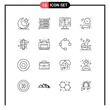 Stock Vector Icon Pack of 16 Line Signs and Symbols for chinese, time, computer, hold, clock Editable Vector Design Elements icon
