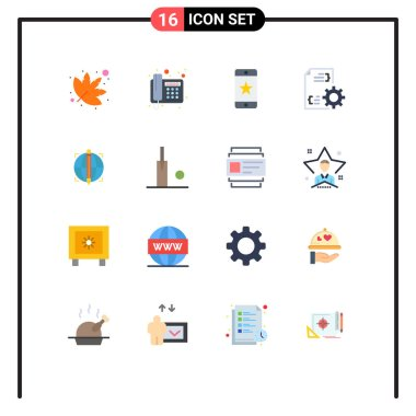 Universal Icon Symbols Group of 16 Modern Flat Colors of globe, focus, award, management, development Editable Pack of Creative Vector Design Elements icon