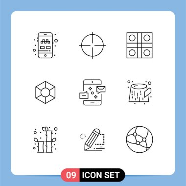 Stock Vector Icon Pack of 9 Line Signs and Symbols for communication, crypto, game, coin, sports Editable Vector Design Elements icon