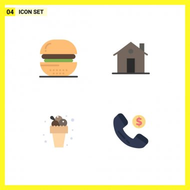 User Interface Pack of 4 Basic Flat Icons of burger, house, food, chimney, meal Editable Vector Design Elements icon
