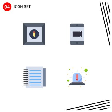 Stock Vector Icon Pack of 4 Line Signs and Symbols for box, paper, mobile, note, emergency Editable Vector Design Elements icon