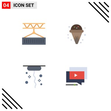 4 User Interface Flat Icon Pack of modern Signs and Symbols of cargo, thanks, shipping, ice cream, play Editable Vector Design Elements icon