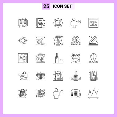 Stock Vector Icon Pack of 25 Line Signs and Symbols for code, human, connection, body, add Editable Vector Design Elements icon