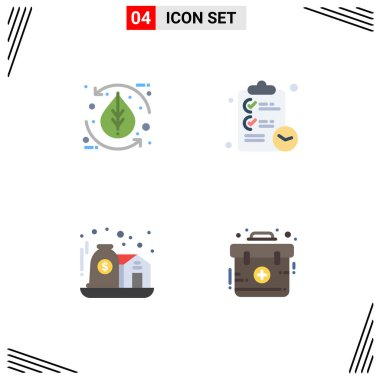 Flat Icon Pack of 4 Universal Symbols of leaf, asset, leaf, clipboard, investment Editable Vector Design Elements icon