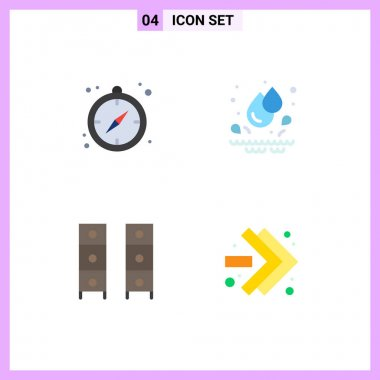 4 User Interface Flat Icon Pack of modern Signs and Symbols of camping, office draw, drops, draw, arrows Editable Vector Design Elements icon