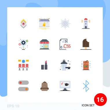 Universal Icon Symbols Group of 16 Modern Flat Colors of creative, idea, halloween, tower, building Editable Pack of Creative Vector Design Elements icon