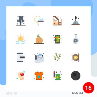 Set of 16 Modern UI Icons Symbols Signs for deep search, search, school, property, stairs Editable Pack of Creative Vector Design Elements icon