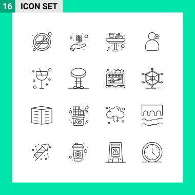 Stock Vector Icon Pack of 16 Line Signs and Symbols for cocktail, medical, dinner, working, man Editable Vector Design Elements icon