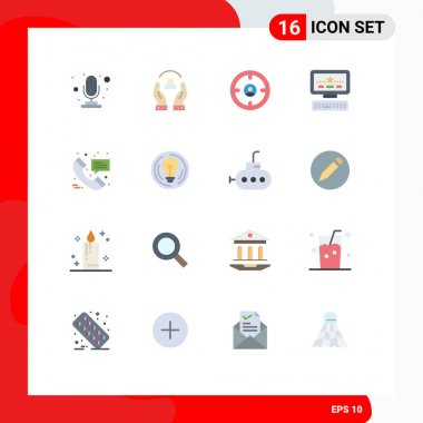 Set of 16 Modern UI Icons Symbols Signs for hospital call, keayboard, business, star, hunter Editable Pack of Creative Vector Design Elements icon