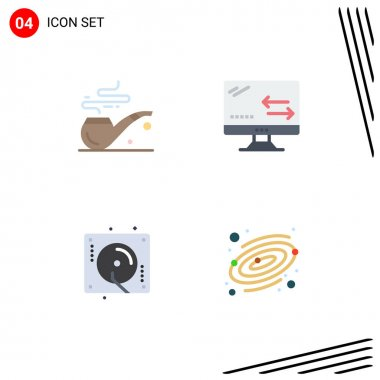 Set of 4 Commercial Flat Icons pack for pipe, music, cloud, technology, astronomy Editable Vector Design Elements icon