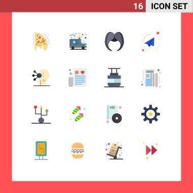 Universal Icon Symbols Group of 16 Modern Flat Colors of assortment, send, moustache, paper plane, men Editable Pack of Creative Vector Design Elements icon