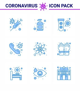 Corona virus 2019 and 2020 epidemic 9 Blue icon pack such as atom, on, elucation, doctor, call viral coronavirus 2019-nov disease Vector Design Elements icon