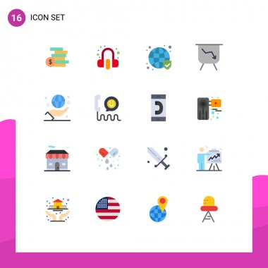 Universal Icon Symbols Group of 16 Modern Flat Colors of globe, business, globe, performance, board Editable Pack of Creative Vector Design Elements icon